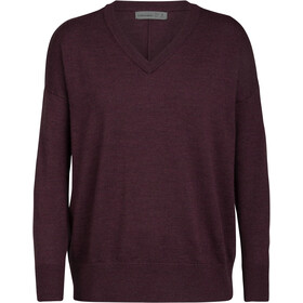 Icebreaker Shearer V-hals Sweater Dames, rood